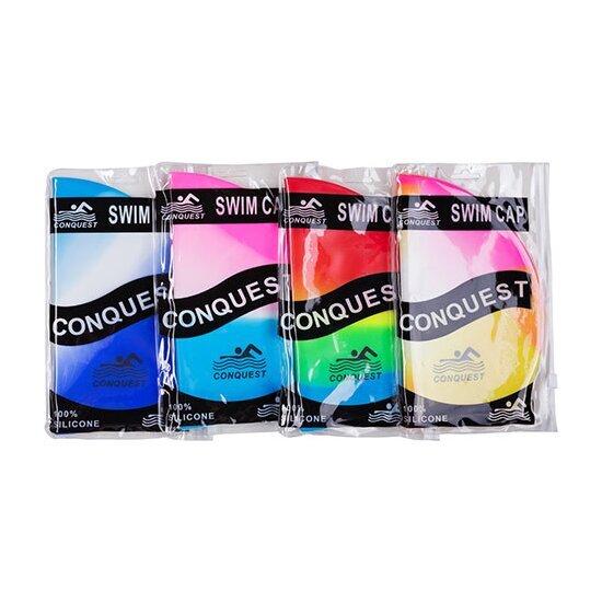 conquest Шапочка для плавания CONQUEST SC01-A, розово-голубая 9732531